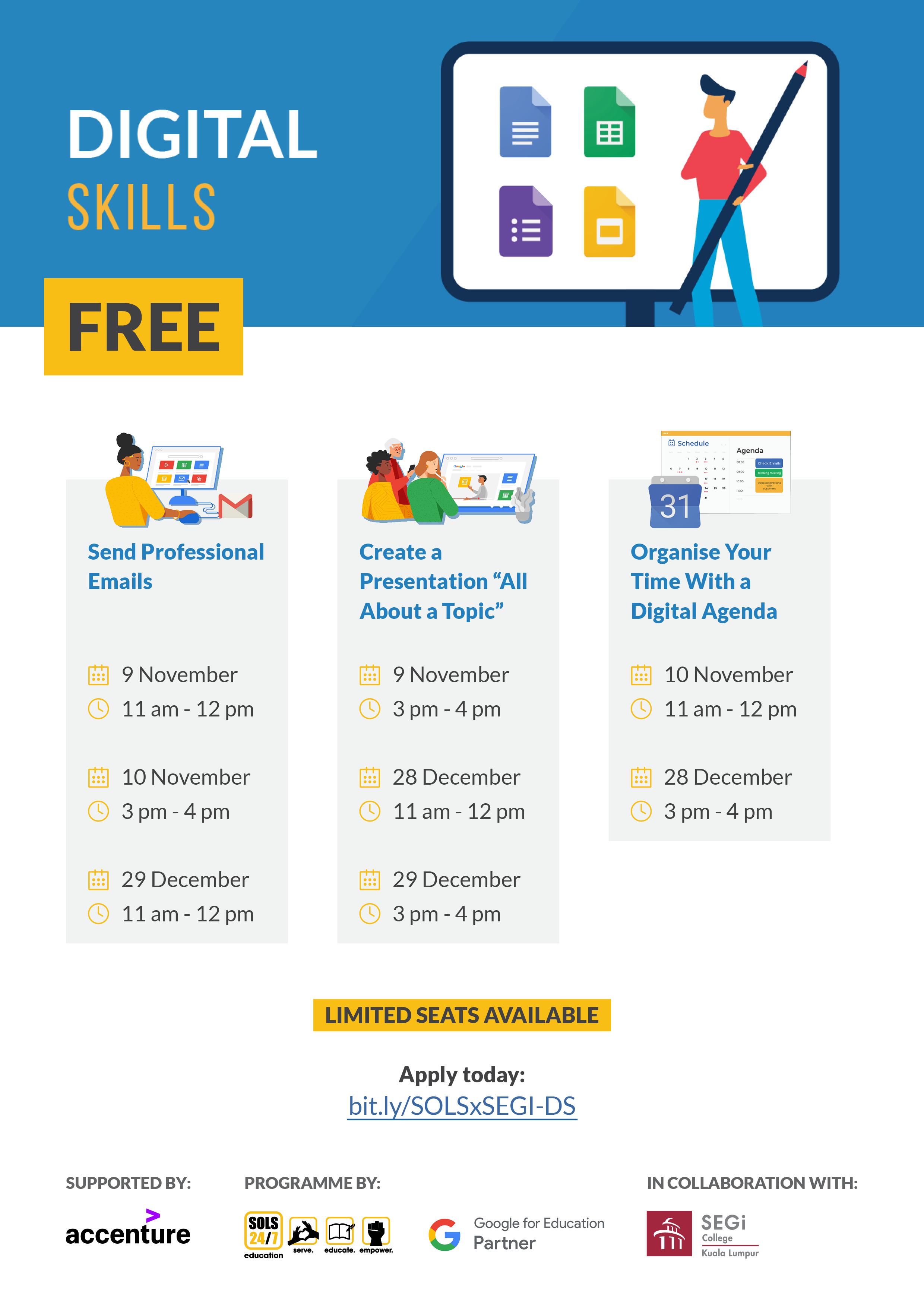 SOLS Education Poster on Digital Skills Workshops